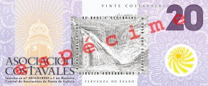 Anverso do billete de 20 costavales (ESPÉCIME)