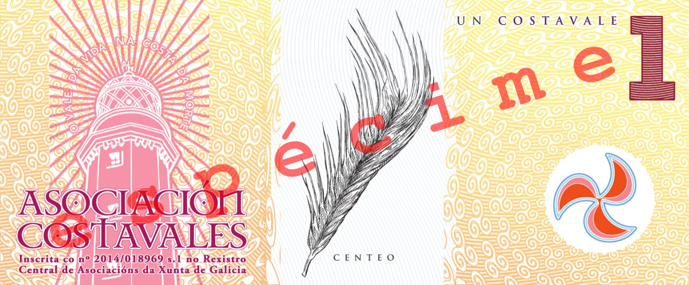 Anverso do billete de 1 costavale (ESPÉCIME)