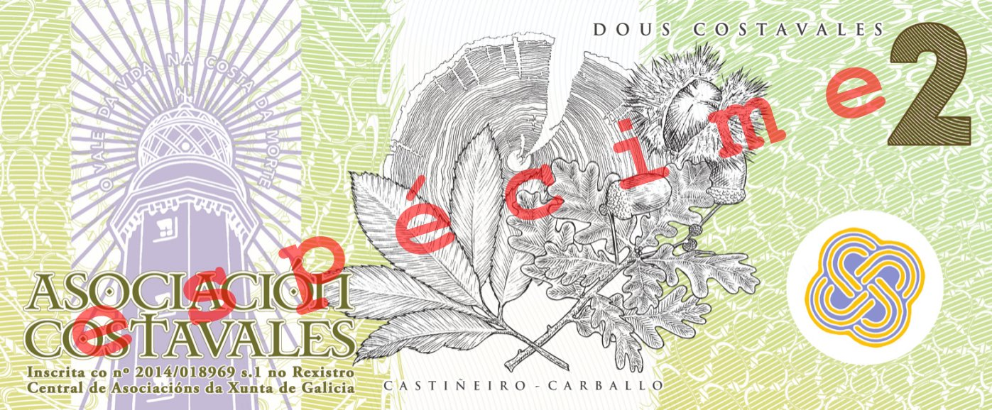 Anverso do billete de 2 costavales (ESPÉCIME)
